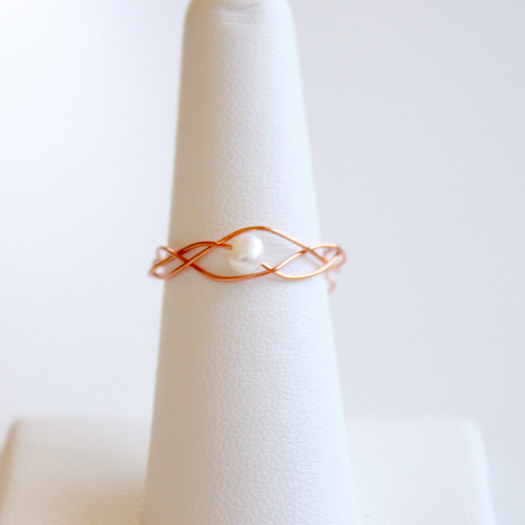 Rose Gold Braided Pearl Ring that Gives Back to Charity by ROX Jewelry in Austin, Texas » Great Gift ideas for her » Dainty Pearl Rings