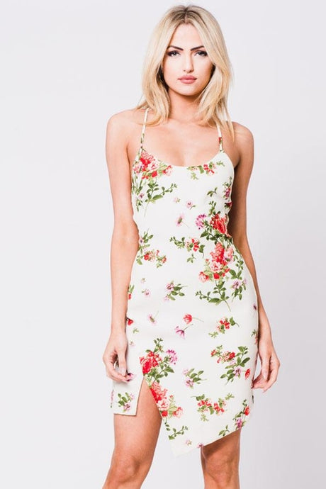 Floral Asymmetrical Hemline Dress with Lace Up Back – Dress outfits – spring dresses – cute dresses casual –  dress outfits – casual summer dresses – dresses that give back to charity – floral Print Outfit – dress trend 2020 – Casual Outfit Ideas Summer 2020 - casual dresses – sexy floral style