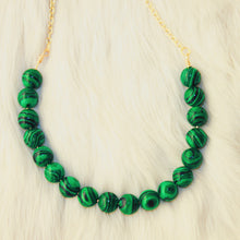 Sarah Choker Necklace that Gives Back to Charity by ROX in Green and Black Malachite and Gold – Trendy and Affordable Perfect for Game day Necklace that Gives Back Green Jewelry - modern take on classic pearl choker