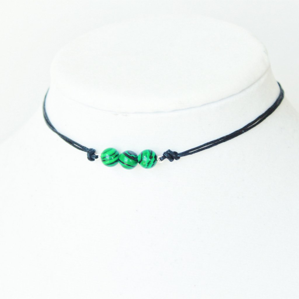 Kenzie Malachite Choker that Gives Back to Charity Handmade in Austin, Texas USA by ROX Jewelry Vegan Gift Ideas