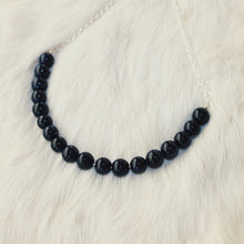 Sarah Choker Necklace that Gives Back to Charity by ROX in Blue and Black Goldstone and Silver – Trendy and Affordable Perfect for Game day Necklace that Gives Back Black and Blue Jewelry - modern take on classic pearl choker