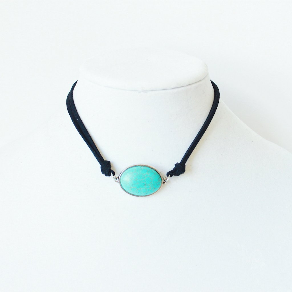 Rachel Turquoise Oval Pendant with Vegan Suede that Gives Back to Charity by ROX Jewelry