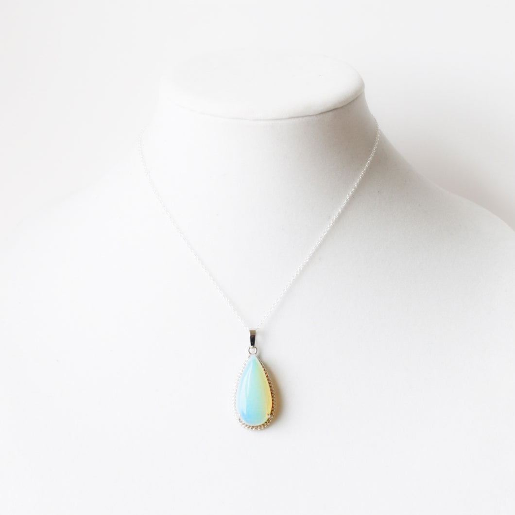 Tori Teardrop Pendant Necklace that Gives Back to the Charity of Your Choice » Sterling Silver and Opalite Necklace » Handmade Jewelry from Austin Texas by ROX Jewelry