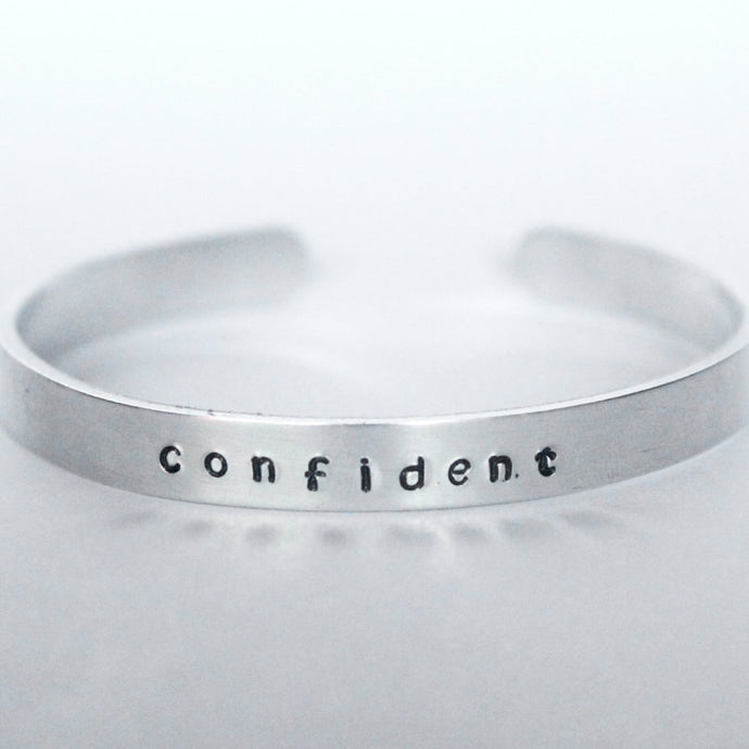 confident word of faith Logos logo stamped cuff bracelets that donate to charity ROX Jewelry