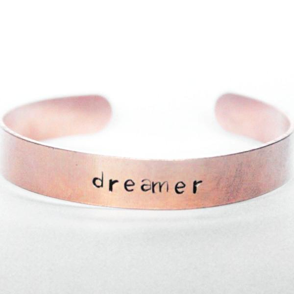 dreamer Logos logo stamped cuff bracelets that donate to charity ROX Jewelry