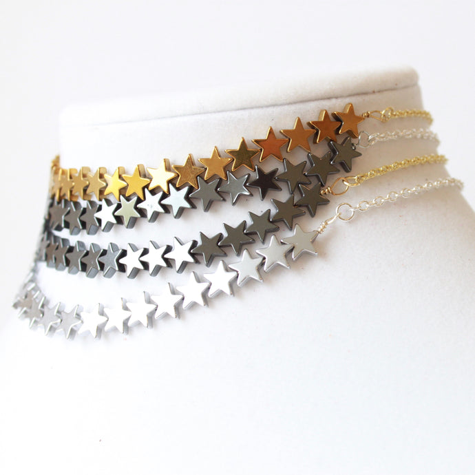 Kylee Gold, Black, or Silver Star Choker that Donates $25 to charity by ROX Jewelry Handmade in Austin, Texas