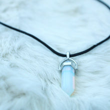 ROX Jewelry Shop - Felicia Pendant Necklace with black leather and opal opalite crystal real stone jewelry benefitting charity