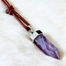 Laurie Amethyst Pendant Necklace that Gives Back to Charity by ROX Jewelry Healing Crystal Jewelry Handmade in Austin Texas
