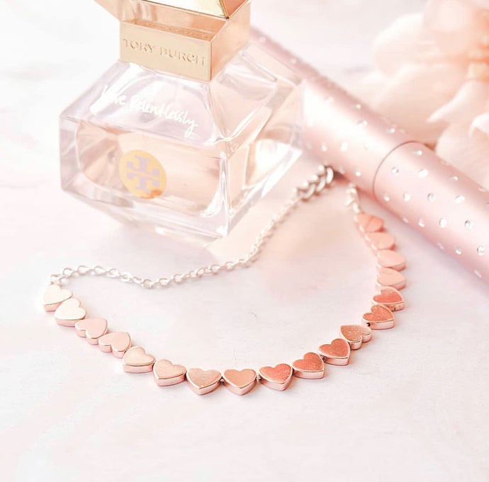Rose Gold Heart Choker that Gives Back to Charity by ROX Jewelry Handmade jewelry from austin texas
