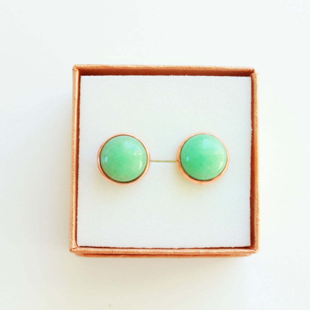 Johnnie Earrings that Give Back to Charity by ROX in Aventurine and Rose Gold – Trendy and Affordable Classy Circle Studs that Give Back