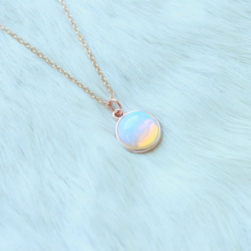 Holly Pendant Necklace that Gives Back to Charity by ROX in Opalite and Rose Gold – Trendy and Affordable Classy Necklace that Gives Back Rainbow