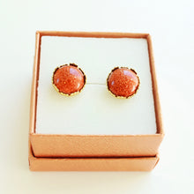 Ella Gold Crown Earrings that Give Back to Charity by ROX Jewelry – Rainbow, burnt orange, black, crystal earrings » Statement studs