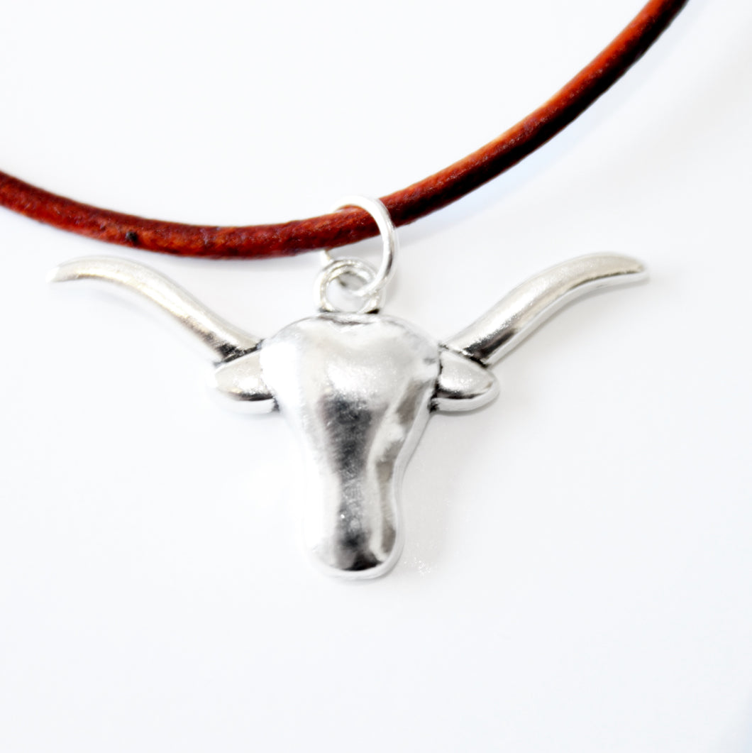 ROX Jewelry Shop - Kate Adjustable Convertible Choker Gameday Necklace with brown leather and silver longhorn bull steer cowhead charm  football jewelry benefitting charity handmade Austin Texas