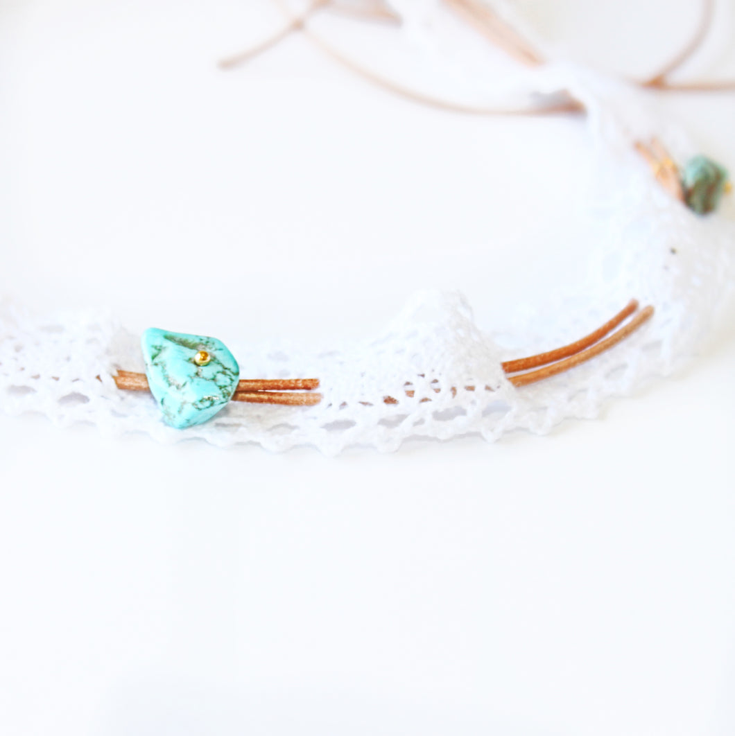 ROX Jewelry Shop - Kelsey Adjustable Convertible Choker Festival Necklace with Cotton Lace Real Turquoise Stones Tan leather jewelry benefitting charity handmade Austin Texas