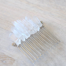 ROX Jewelry Shop - Kaitlin Real Quartz Crystal Hair Piece Hair Comb with Clear Quartz Crystal Points jewelry benefitting charity handmade Austin Texas