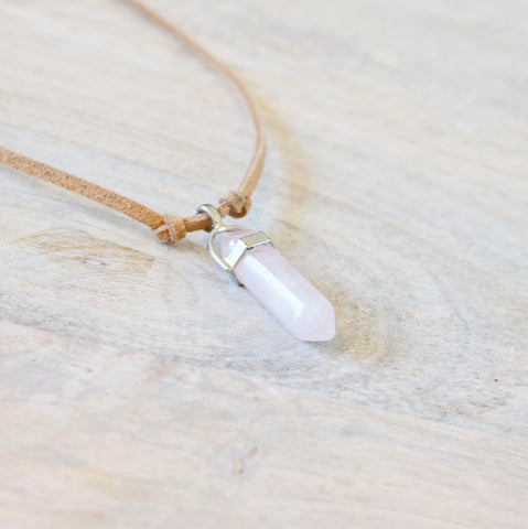 ROX Jewelry Shop - Emma Rose Quartz Pendant Real Stone Crystal Jewelry Gift Necklace with Vegan Suede Donating Money To Charity Handmade in Austin Texas