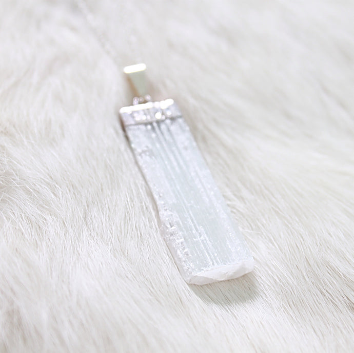 ROX Jewelry Shop - Rare ROX Collection - Brady White Selenite Healing Crystal with real 925 Silver Cable Chain and Plating - Donates portion of profit to charity - Austin TX Handmade artisan jewelry truly unique jewelry pendant