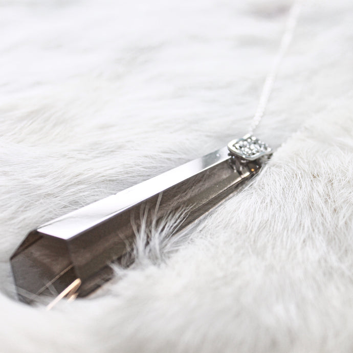 Rare ROX Collection - Stunning Ann Pendant Necklace Smokey Hexagon Cut • The Gift that Gives Back ROX Jewelry for a Cause Each Purchase Donates to Charity Limited Edition Cyber Monday Sale
