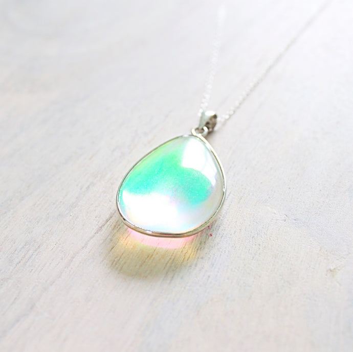 ROX Jewelry - Tori Opal Opalite Rainbow Tear drop Chakra pendant necklace with real 925 sterling silver cable chain, beautiful delicate jewelry that donates to charity gift trends