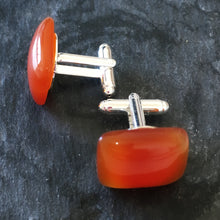 James Carnelian Cufflinks for Men 2018 Great Valentines Gift Ideas for Him Orange Burnt Orange UT Longhorn Gift Ideas Giving Back to Charity - ROX Jewelry Shop