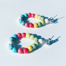 Handmade Colorful Earrings that Give Back to Charity Multicolored stone bead teardrop earrings fun accessories and ethical fashion by ROX Jewelry Shop