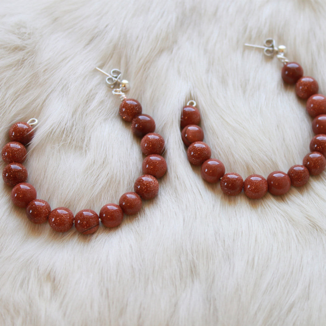 Goldstone Hoop Earrings that Give Back to Charity by ROX Jewelry » Handmade in Austin, Texas » Burnt Orange Hoop Earrings » Burnt Orange Jewelry