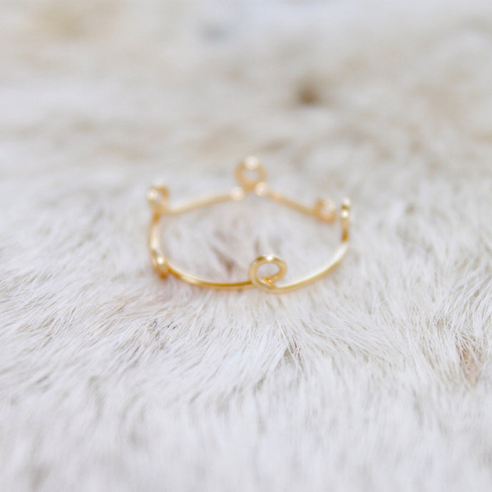 Gold Ring that Gives Back to Charity by ROX Jewelry in Austin, Texas » Great Gift ideas for her » Loop Rings, Crown Ring, Dainty Ring, Swirl Ring