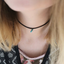 ROX Jewelry Shop - Rebecca single turquoise stone choker necklace giving back to charity $5 donated for each purchased handmade in Austin Texas perfect teenage twenty something holiday birthday gift