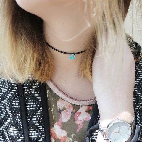 Rebecca Choker Necklace – Single Turquoise Stone with Black Leather