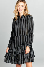 Long Sleeve Striped Tiered Bottom Dress (Multiple Colors) – Dress outfits – spring dresses – cute dresses casual –  dress outfits – casual summer dresses – dresses that give back to charity – Casual Sunday Outfit – dress trend 2020 – Casual Outfit Ideas Summer 2020 - casual dresses – Modest Dresses