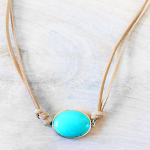 ROX Jewelry Shop - Perfect Vegan Christmas Holiday Birthday Gift Necklace with Faux Suede and Turquoise Oval Pendant Drop Handmade Real Stone Jewelry in Austin, Texas Donates $5 for Each sold to charity