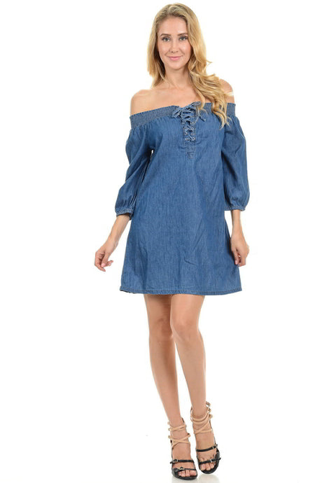 Off the Shoulder Lace Up Denim Dress – Dress outfits – spring dresses – cute dresses casual –  dress outfits – casual summer dresses – dresses that give back to charity – Denim Women's Dress – dress trend 2020 – Casual Outfit Ideas Summer 2020 - casual dresses – Country Style Dresses