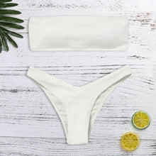 Classic Bandeau Bikini Set in White  – Best Bikinis – Swimsuit Trends – Pool Party ideas – 2020 swimwear trends – Swimsuits Under $40 – Swimsuits that give back to charity  – solid color swimsuits – Summer 2020 swimsuit trends bikini