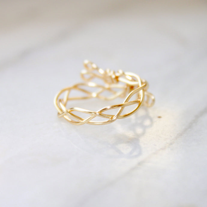 Gold Braided Ring that Gives Back to Charity by ROX Jewelry in Austin, Texas » Great Gift ideas for her » Dainty Rings for her under $40