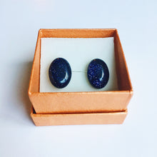 Hannah Midnight Blue Black Oval Goldstone Stud Earrings with silver and gift wrapping options ROX Jewelry Shop Handmade Jewelry in Austin Texas that Donates to Charity