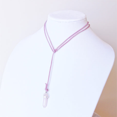 ROX Jewelry Shop - Whitney Real Pink Rose Quartz Crystal Stone Convertible Choker Necklace Bracelet Pendant with Vegan Suede Ethical  jewelry benefitting charity handmade Austin Texas