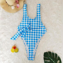 Flattering Blue Gingham One PIece Swimsuit – Best One Piece Swimsuits – Flattering Swimsuits – Pool Party ideas – swimwear 2020 trends – Swimsuits Under $40 – Swimsuits that give back to charity  – Classy Swimsuits – 2020 swimsuit trends