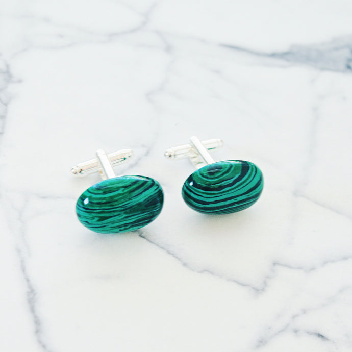 Silver and Green Malachite Cufflinks that Give Back to Charity » Handmade Jewelry from Austin Texas » Great Gifts for Him » Graduation, formal, birthday, holiday