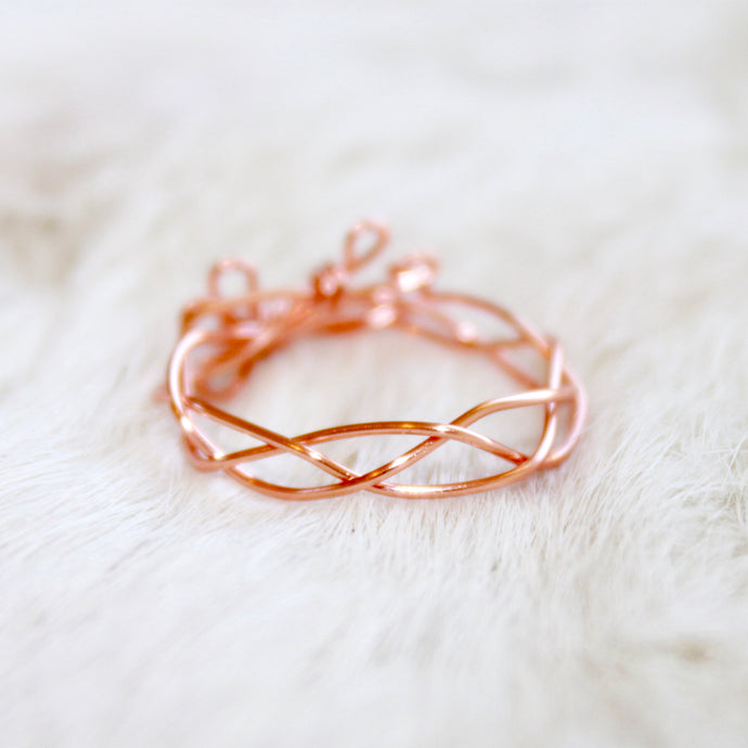 Braided Rose Gold Ring that Gives Back to Charity by ROX Jewelry in Austin, Texas » Great Gift ideas for her under $30