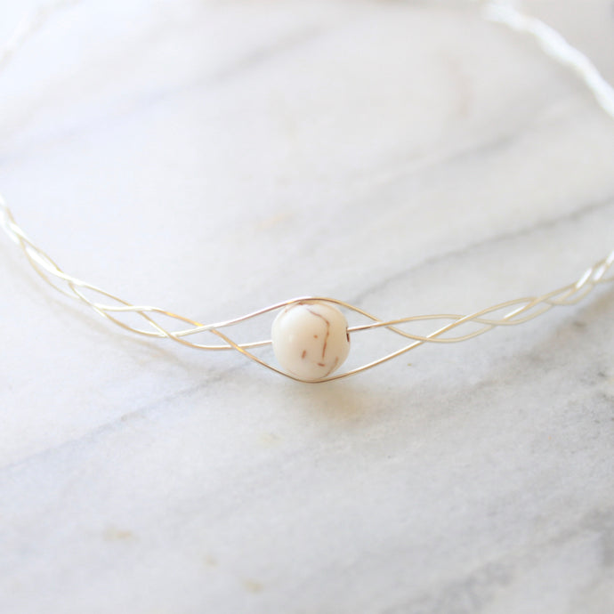 Braided Silver Choker with White Howlite Stone that Gives Back to Charity by ROX Jewelry in Austin, Texas » Great Gift ideas for her under $60