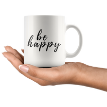 Be Happy Mug that gives back to charity from ROX Jewelry's Purely Positive Collection coffee mugs for a cause black