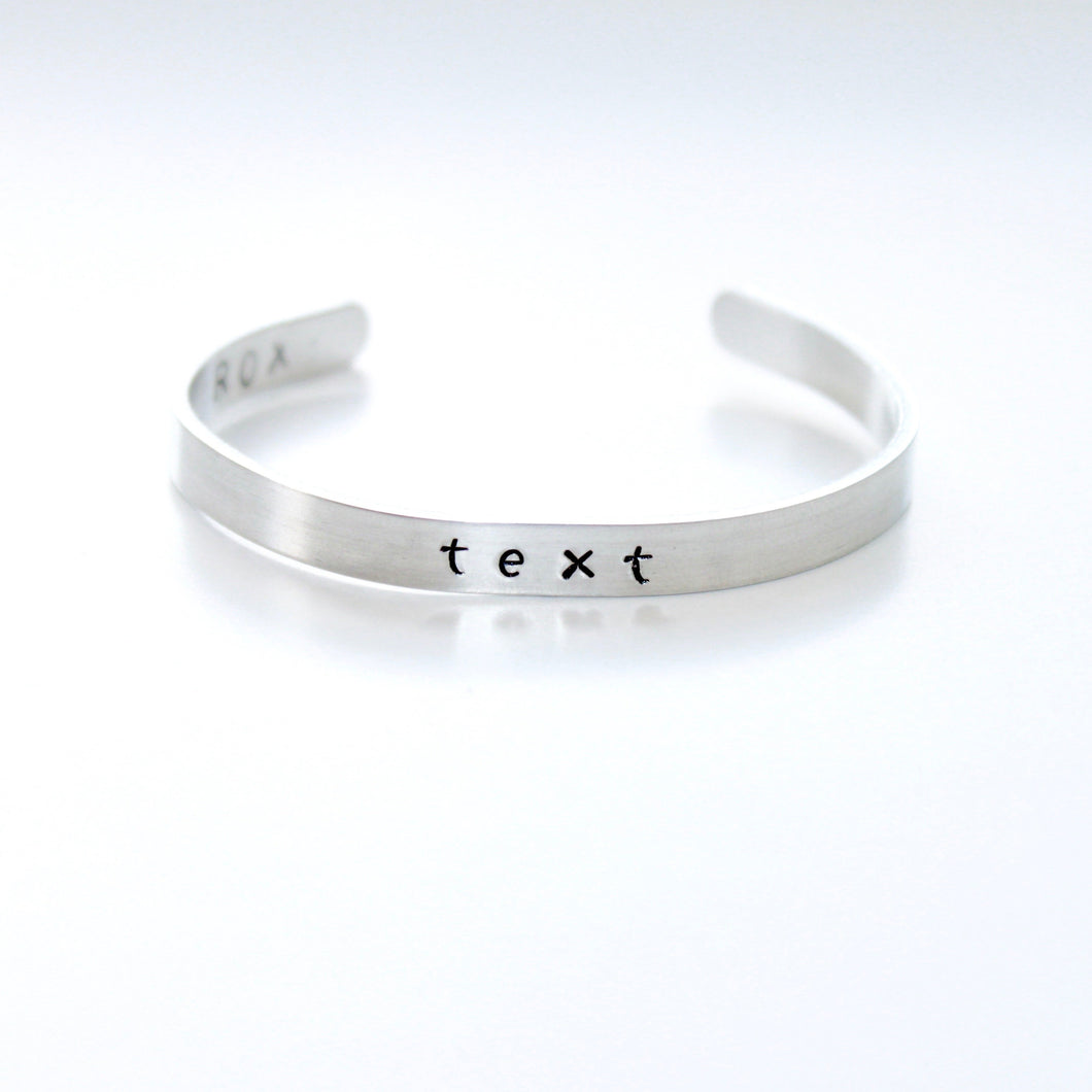 Custom Name, Date, Text Skinny Bracelet Cuff that Gives Back to Charity by ROX Jewelry in Austin, Texas » Great Gift ideas for her under $30