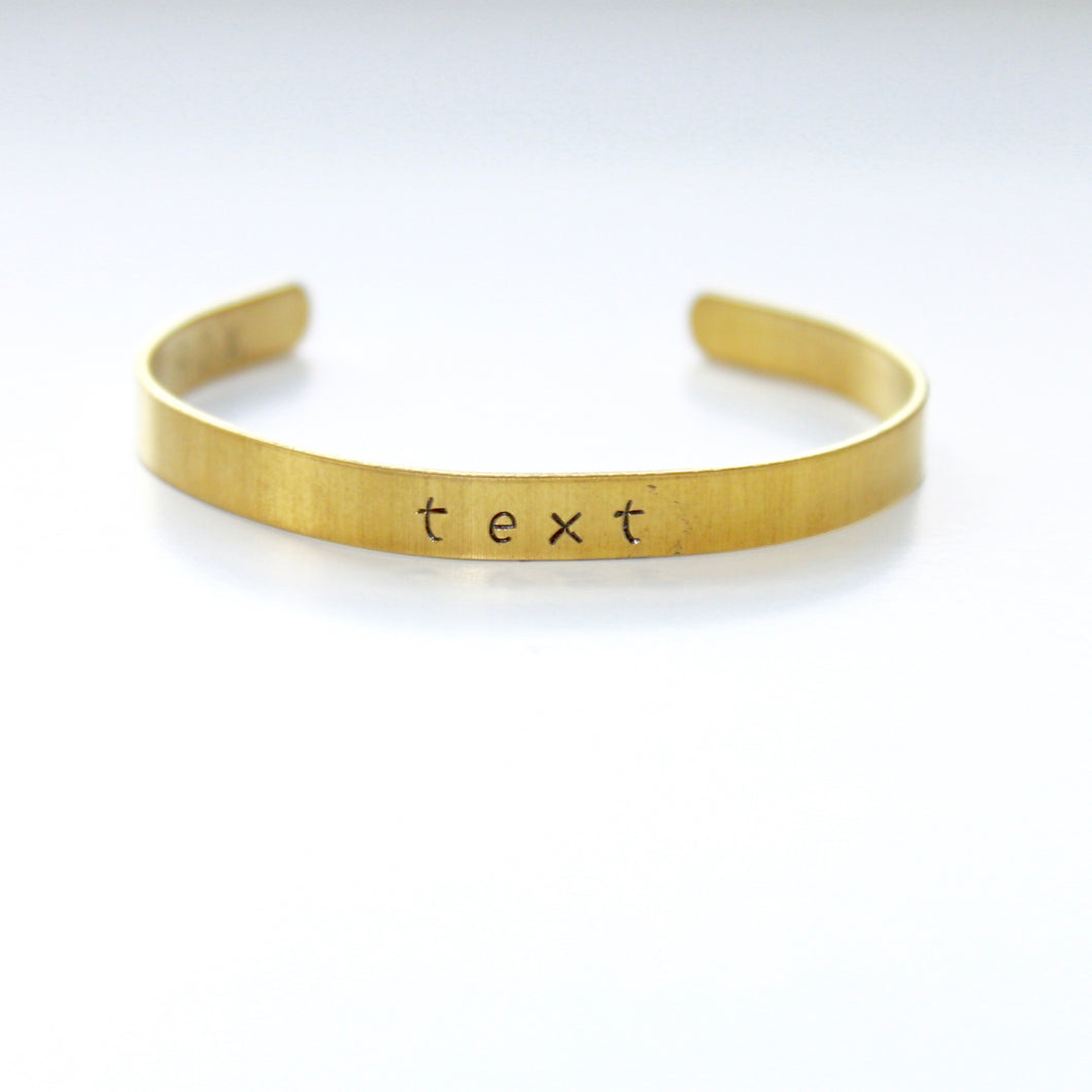 Custom Name Date or Tex Skinny Brass Gold Color Bracelet Cuff that Gives Back to Charity by ROX Jewelry in Austin, Texas » Great Gift ideas for her under $30