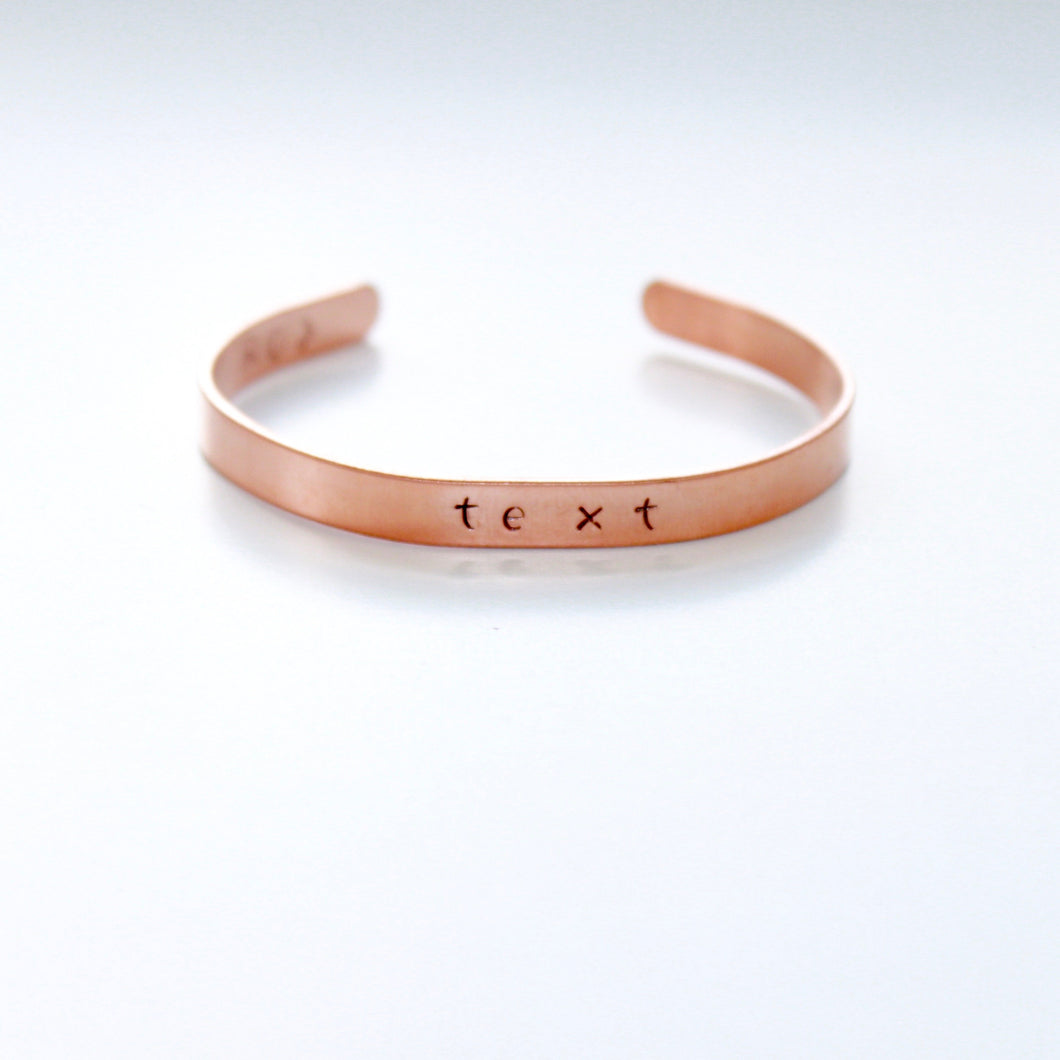 Custom Name Date or Text Skinny Rose Gold Color Bracelet Cuff in Copper that Gives Back to Charity by ROX Jewelry in Austin, Texas » Great Gift ideas for her under $30
