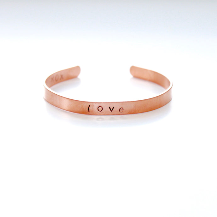 Love Skinny Rose Gold Color Bracelet Cuff in Copper that Gives Back to Charity by ROX Jewelry in Austin, Texas » Great Gift ideas for her under $30