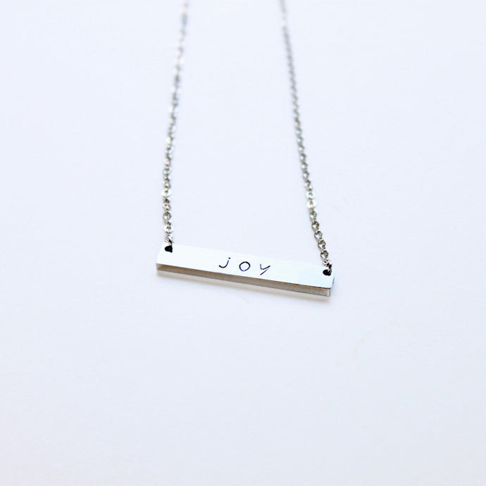 Silver Bar Joy Necklace that Gives Back to Charity by ROX Jewelry in Austin, Texas » Great Gift ideas for her under $35