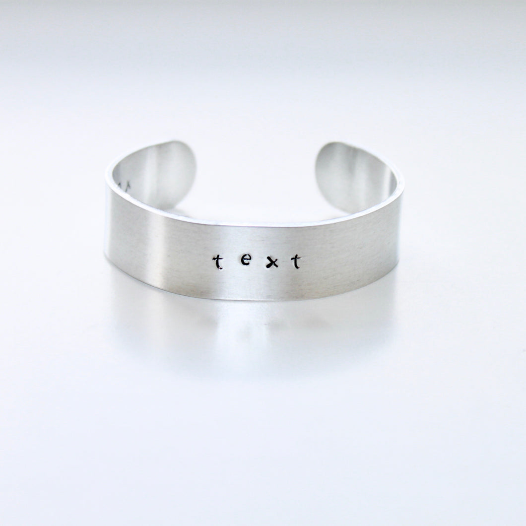 Custom Name Date or Text Thick Brass Silver Color Bracelet Cuff that Gives Back to Charity by ROX Jewelry in Austin, Texas » Great Gift ideas for her under $30