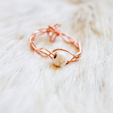 Rose Gold Braided Stone Ring that Gives Back to Charity by ROX Jewelry in Austin, Texas » Great Gift ideas for her » Dainty white howlite stone Rings