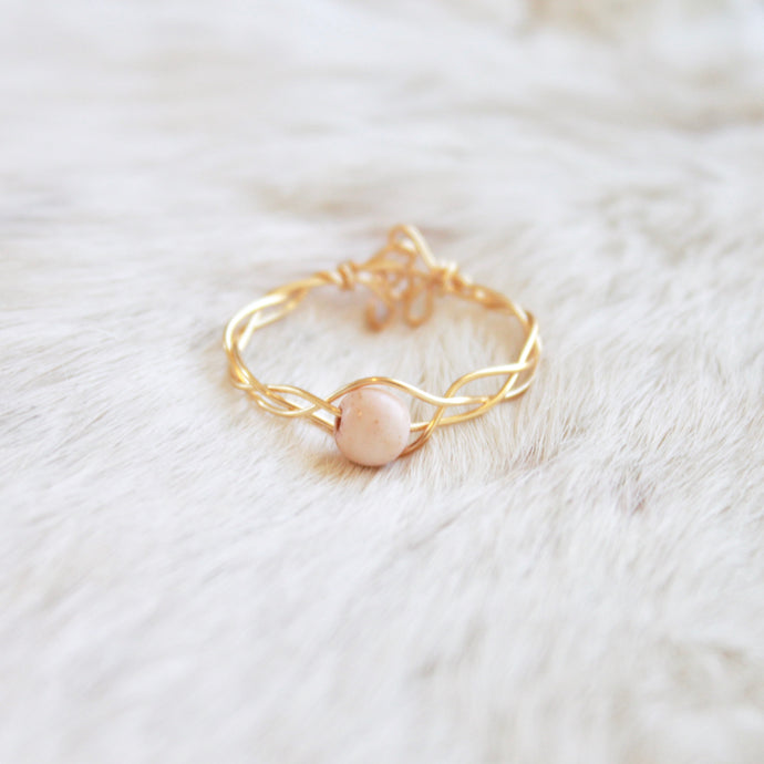 Gold Braided Stone Ring that Gives Back to Charity by ROX Jewelry in Austin, Texas » Great Gift ideas for her » Dainty white howlite stone Rings