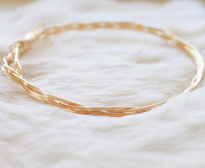 Gold Choker and Bracelet that Gives Back to Charity by ROX Jewelry in Austin, Texas » Great Gift ideas for her » Braided Jewelry that converts from necklace to bracelet
